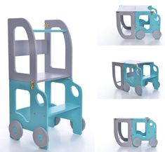 Montessori kitchen helper which can be easily transformed to table and chair is designed and created for learning, cooking, climbing, sitting next to the large family table and eating or just...
