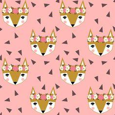 fox flower crown pink spring cute girly nursery baby fabric by charlottewinter on Spoonflower - custom fabric