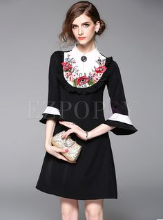 Shop for high quality Sweet Stand Collar Embroidery Flare Sleeve Shift Dress online at cheap prices and discover fashion at Ezpopsy.com