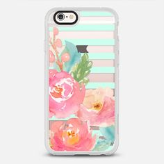Watercolor Floral Sea-foam Stripes - New Standard Case