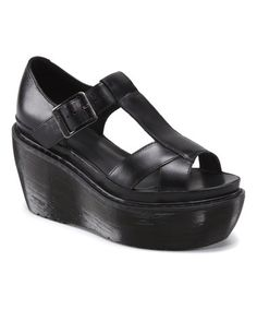 Look at this #zulilyfind! Black Adaya Leather Sandal #zulilyfinds