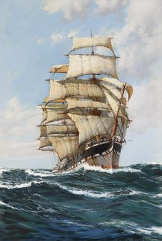 Montague Dawson R.S.M.A., F.R.S.A. 1895-1973 BRITISH THE LOFTY CLIPPER, CLAN MACFARLANE signed Montague Dawson (lower left) oil on canvas 36 by 24 3/8 in. 91.4 by 61.9 cm