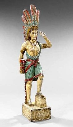 Large American Carved, Gessoed and Polychromed Wooden Cigar Store Indian, first quarter century, depicted with t. on Jun 2005 Cigar Store Indian, Native American Crafts, Man Cave Garage, African Men, Wood Carvings, Old West, Tins, Cigars, New Orleans