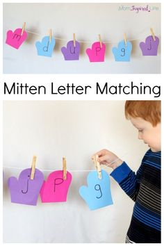 Winter mitten letter matching alphabet activity on a clothesline. Develop fine motor skills while learning letters! They could also match colors to colored cloths pins. Teaching The Alphabet, Learning Letters, Fun Learning, Learning Activities, Teaching Aids, Learning Spanish, Classroom Activities, Toddler Activities, Teaching Resources