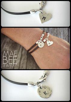New Pewter and Leather Initial Bracelets from JewelryByMaeBee on #Etsy. #sfetsy www.jewelrybymaebee.etsy.com