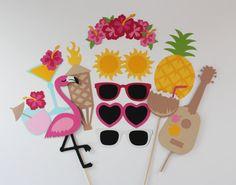 Items similar to Flamingo & Pineapple Photo Booth Prop 13 Pc Hawaiian Tiki Collection on Etsy Photos Booth, Photo Booth Props, 13th Birthday Parties, 25th Birthday, Hawaiian Tiki, Luau Wedding, Tiki Party, Themes Photo, Flamingo Party