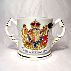 Aynsley fine English bone china loving cup. It commemorates the 1990 ninetieth birthday of The Queen Mother. - SOLD
