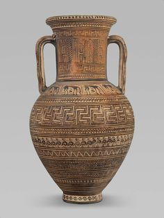 Ceramic two-handled jar (amphora) with snakes on handles. The Birdseed Painter. Greek. Late Geometric IIA Period. 735–720 B.C. | Museum of Fine Arts, Boston