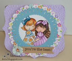 Card by Melissa for Whimsy and Stars Studio stamp. Digital Stamp and Rubber Stamps. Digital Stamp: Best Friends