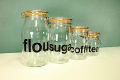 Triomphe glass jar canister set from RetroSpecList on Etsy #vintageunscripted #vintagehomedecor #ontheblog
