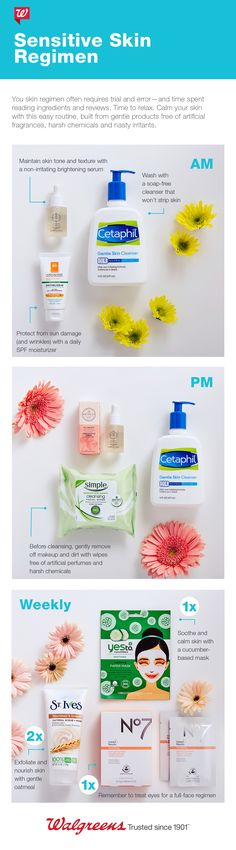 Calm sensitive skin with this easy routine, built from gentle products.