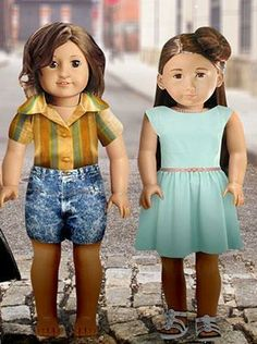 The cast of Girls, as American Girl dolls