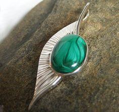 Malachite Silver Leaf Pendant #HandmadeSilverJewelry