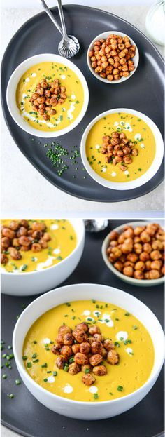 Cheesy Butternut Soup with Crunchy Chickpeas I howsweeteats.com