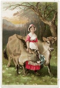 Old Design Shop ~ free digital image: milkmaid and cows vintage trade card