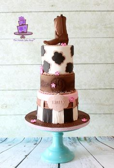 GIRLY WESTERN 19th Birthday Cake with Boot Topper - Cake by Violet - The Violet Cake Shop