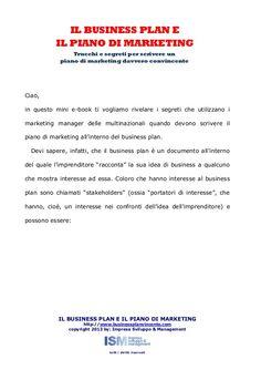 Business plan e il piano di marketing