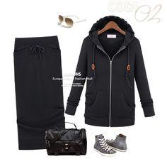 Item No: B036 (Black)    Material: Cotton    Measurement:   Top - Length:59cm Shoulder:34cm Bust:80cm~ Sleeve:57cm  Skirt - Length:77cm Waist:62cm~ Hip:68cm~