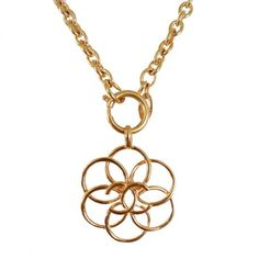 Chanel CC Floral Chunk Gold Chain Necklace Pendant