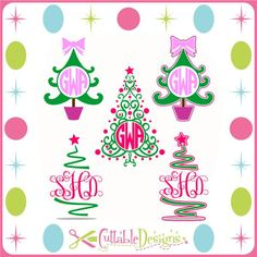 Christmas Tree Monogram Frames | Apex Embroidery Designs, Monogram Fonts & Alphabets
