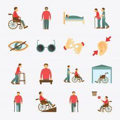 Flat Design Icons, Icon Design, Logo Design, Flat Icons, Icon Set, Disabled People, Kids Artwork, Art Logo, Disability