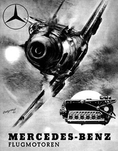 Mercedes-Benz advertising poster for engines of Messerschmidt planes of Luftwaffe, Germany before WW2