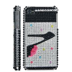 High-heeled Shoe Rhinestone iPhone 4 Cover Case (Verizon,AT) - Black & Silver