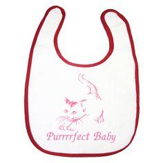 kitten cat on a baby girls feeding bib Purrrrfect baby embroidery $8.00 by BabysPreciousGifts