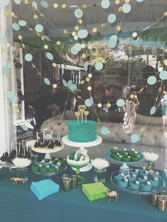Baby Julius' Shower! Dessert table was amazing! Teal, mint, green, gold, glitter.