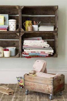 recycle crates, wooden crates, ideetjes houten kistjes, interieur, interior, houten kratten