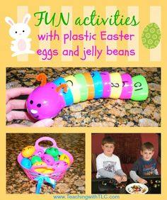 FUN activities for Easter! Use plastic eggs and jelly beans to teach these skills: colors, alphabet, opposites, patterns, numbers, estimation, graphing, probability, statistics, spelling words, solving math problems, measurement, and more!