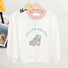 Japanese cartoon skates letter sweatshirt