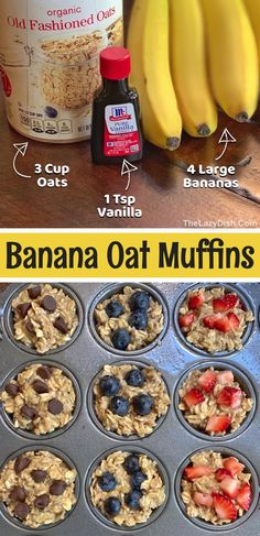 Oat Muffins Healthy, Banana Oat Muffins, Banana Oats, Mini Muffins, Clean Eating Muffins, Baby Food Recipes, Snack Recipes, Cooking Recipes, Easy Recipes
