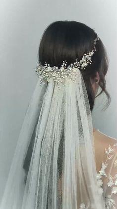Wedding Hair And Makeup, Wedding Beauty, Wedding Hair Accessories, Wedding Bride, Wedding Gowns, Dream Wedding, Hair Wedding, Blue Wedding, Crystal Wedding