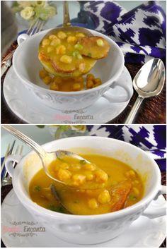 Sopa Creme de Grão de Bico, bem .... quentinha, perfeita para o inverno... com batatas cozidas e linguiça defumada? E fácil muito fácil de fazer!#cozinhaprática  #cozinharápida, #culinária #culináriaprática #receitas #gastronomia  #receitarápida #tudogostoso  #receitafácil #assimqfaz #montaencanta  #sopas Portuguese Soup, Portuguese Recipes, Soup Recipes, Dessert Recipes, Healthy Recipes, Salty Foods, Pasta, Chana Masala, Food Hacks