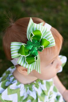 Baby Sparkle Shamrock Headband Baby Bow St Patrick's by KinleyKate
