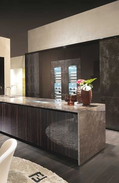 Kitchen Island finish - Villa Livia by Fendi Casa Ambiente Cucina, September 2014 edition, Luxury Living Group Luxury Kitchens, Home Kitchens, Grand Kitchen, Küchen Design, Milan Design, Contemporary Kitchen Design, Luxury Homes Interior, Modern Luxury, Beautiful Kitchens
