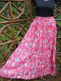 Broomstick skirt bright coral floral print  SM by LamplightGifts, $16.00