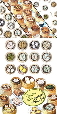 The set includes: 12 watercolor dim sum dishes, top view (png with transparent background, size about px, 300 dpi); Watermelon Art, Watermelon Carving, Food Cartoon, Cartoon Pics, Drink Menu Design, Food Design, Desserts Drawing, Food Doodles, Food Art For Kids