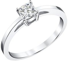Charles and Colvard .50 CT. T.W. Cushion Forever Brilliant® Moissanite Solitaire Prong Set Ring in 14K White Gold