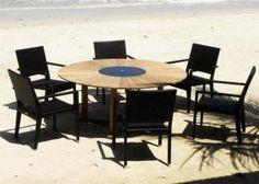Hawaiian Teak Granite and Weave 8 Seater Sets