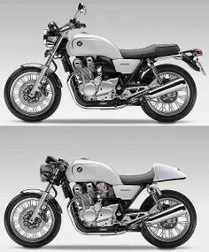Modern/Retro Honda CB 1100 design with a Cafe' version on bottom. Possibly just a concept photo, but if it is they've now built the top one, but not in white. Cafe Racer Honda, Cb 750 Cafe Racer, Modern Cafe Racer, Cafe Racer Bikes, Cafe Bike, Vintage Bikes, Vintage Motorcycles, Custom Motorcycles, Custom Bikes