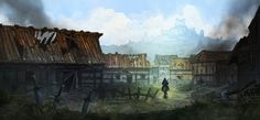 burning village by andre sutherland d8eny2k jpg 1023×473 Fantasy landscape Fantasy village Cool landscapes