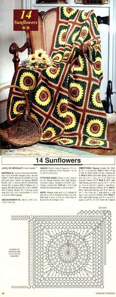 Sunflower crochet afghan ♥️LCA-MRS♥️ with diagram.