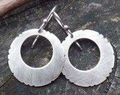 Tribal sterling silver disc hoop dangle earrings