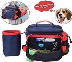 Dog Travel Bag Day Away Tote for Small to Medium Dogs Accessory Bags Dog Travel, Travel Bag, Dog Accesories, Dog Carrier, Medium Dogs, Lunch Box, Pouch, Pet Products
