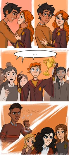 Ginny doesn't need your approval, Ron. (But Harry appreciates it! I've wanted to draw the ACTUAL Harry and Ginny kiss for ages! I love these sweet sassy children, and the movie kiss had. Arte Do Harry Potter, Harry Potter Comics, Harry Potter Drawings, Harry Potter Ships, Harry Potter Jokes, Yer A Wizard Harry, Harry Potter Fandom, Harry Potter Universal, Harry Potter World