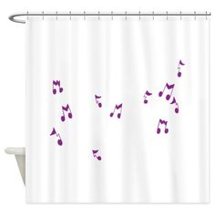 Purple Floating Musical Notes Shower Curtain on CafePress.com