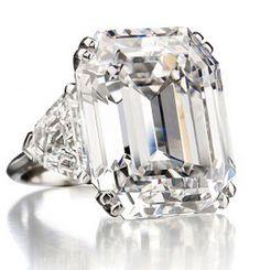 A 34.05 carat rectangular-cut diamond ring of D color, VVS1 potentially Internally Flawless clarity