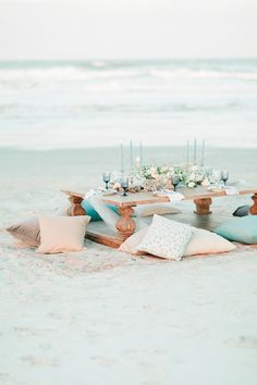 Dreamy Styled Coastal Bridals Set on the beach in Florida this dreamy coastal wedding inspiration pulls organic and natural details from the sea. Beach Dinner, Beach Picnic, Coastal Wedding Centerpieces, Coastal Wedding Inspiration, Coastal Colors, Wedding Shoot, Wedding Ideas, Wedding Details, Wedding Pictures